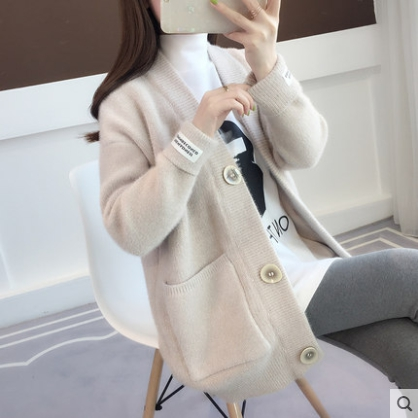 FMFSSOM Spring Autumn Big Button Single Breasted Lazy Loose Pocket Solid Knitted Warm Soft Women Lady Cardigan Sweater