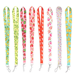 Summer Fruit Pattern Neck Strap Hang Rope for Keys ID Card Mobile Phone Straps Lanyard Badge Holder Key Chain Cute phone hanger
