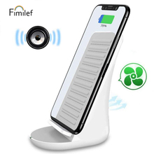 цена на FIMILEF Bluetooth Speaker with Wireless Charger for Fast Wireless Charging Dock Base for iPhone X/8 Samsung Note 8 Smart phone