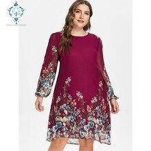 CUERLY 2019 autumn Women Plus Size Dress Long-Sleeve Elegant Chiffon maxi vestidos Tribal Flower Print Vocation Shirt Dresses недорого