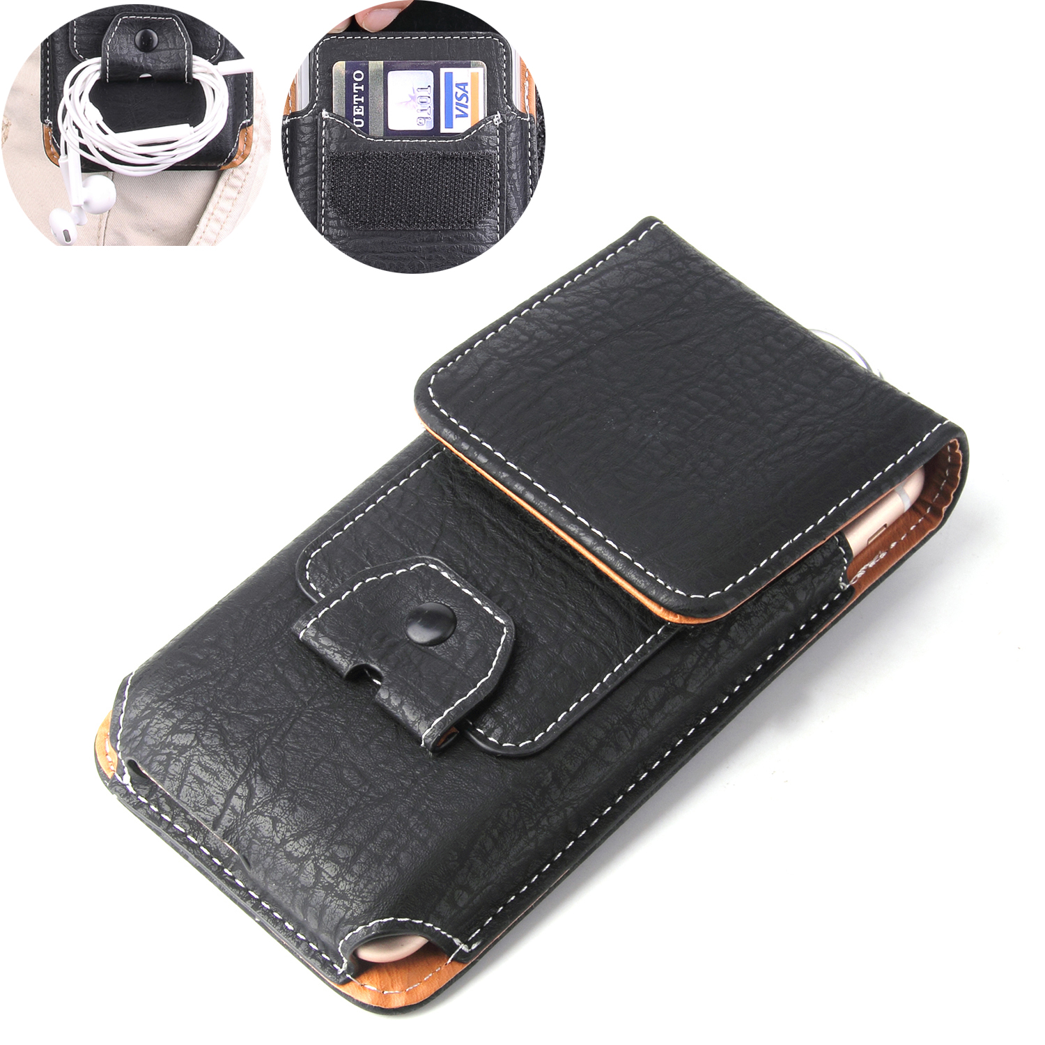 Universal Pouch Leather Case For Vivo Y81i Y81S Y55S Y53i Y29L Y35 Y31L Y18L Waist Bag Magnetic holster Belt Clip Phone Cover