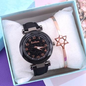 Casual Romantic Starry Sky Women Watches Fashion Bracelet Bangle Ladies Wrist Watch Simple Leather Female Clock Relogio Feminino