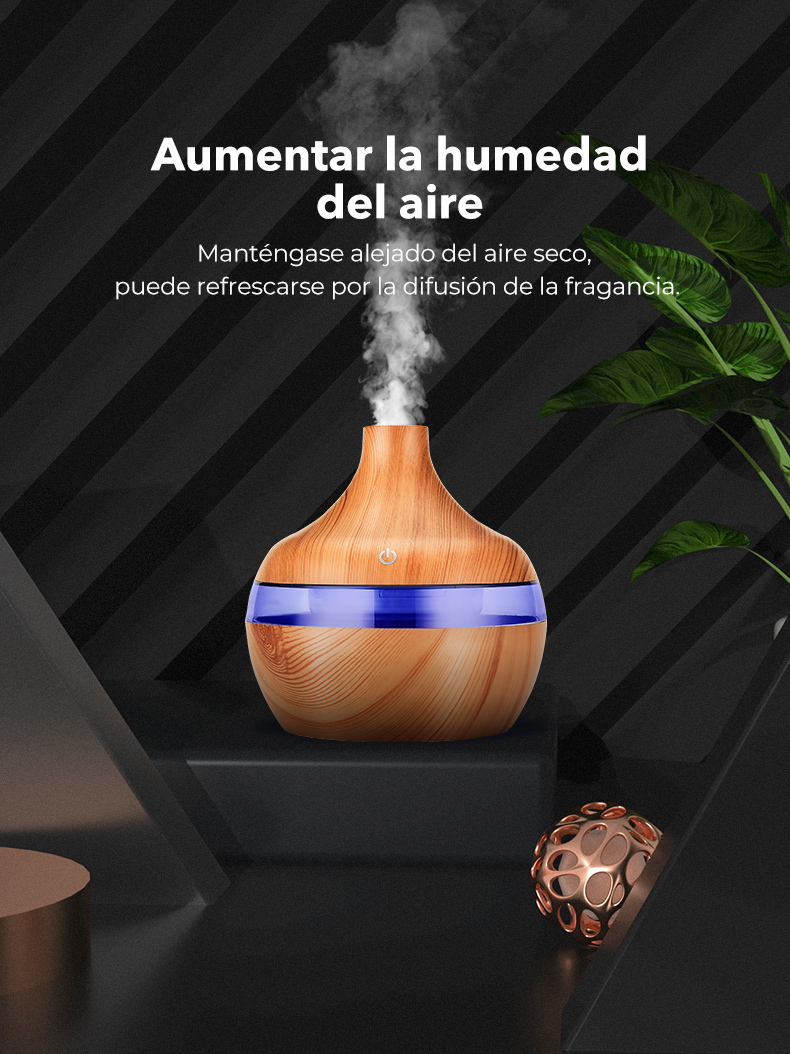 SaengQ Humidificador de aire eléctrico color madera con luz LED