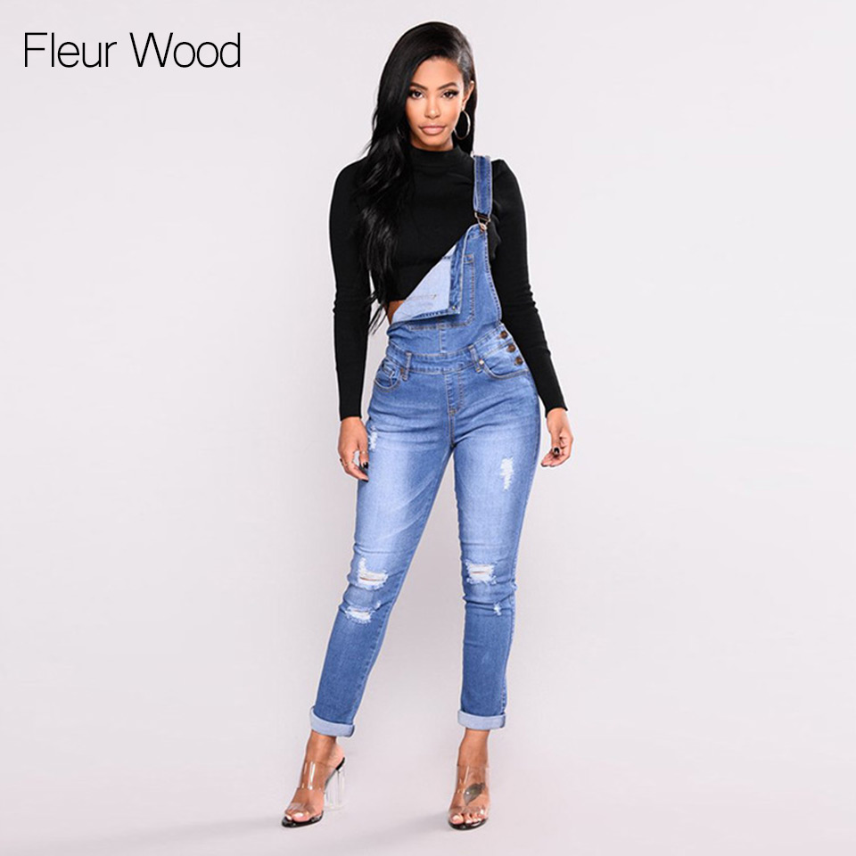 FLEUR WOOD Jeans Bib Female Hole Slimming Feet Jeans Women High Elastic Plus Size Stretch Jeans Female Washed Denim Skinny Jeans