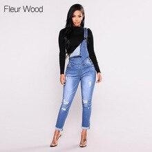 FLEUR WOOD Jeans Bib Mujer vaqueros adelgazantes pies Jeans para mujeres alta de talla grande Stretch Jeans Mujer lavado Denim Skinny Jeans