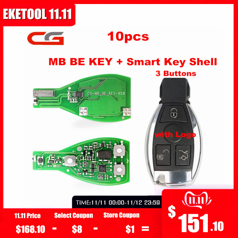 Original CGDI CG MB BE KEY Work For Benz Till FBS3 315MHZ/433MHZ Get 1 Free Token For CGDI MB With Smart Key Shell 3 Button Logo
