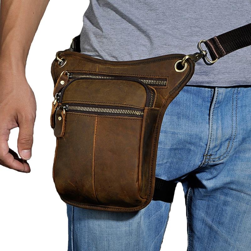 Norbinus Men Waist Leg Bag Motorcycle Drop Leg Belt Bag Genuine Leather Hip Belt Pack Travel Messenger Shoulder Crossbody Bag