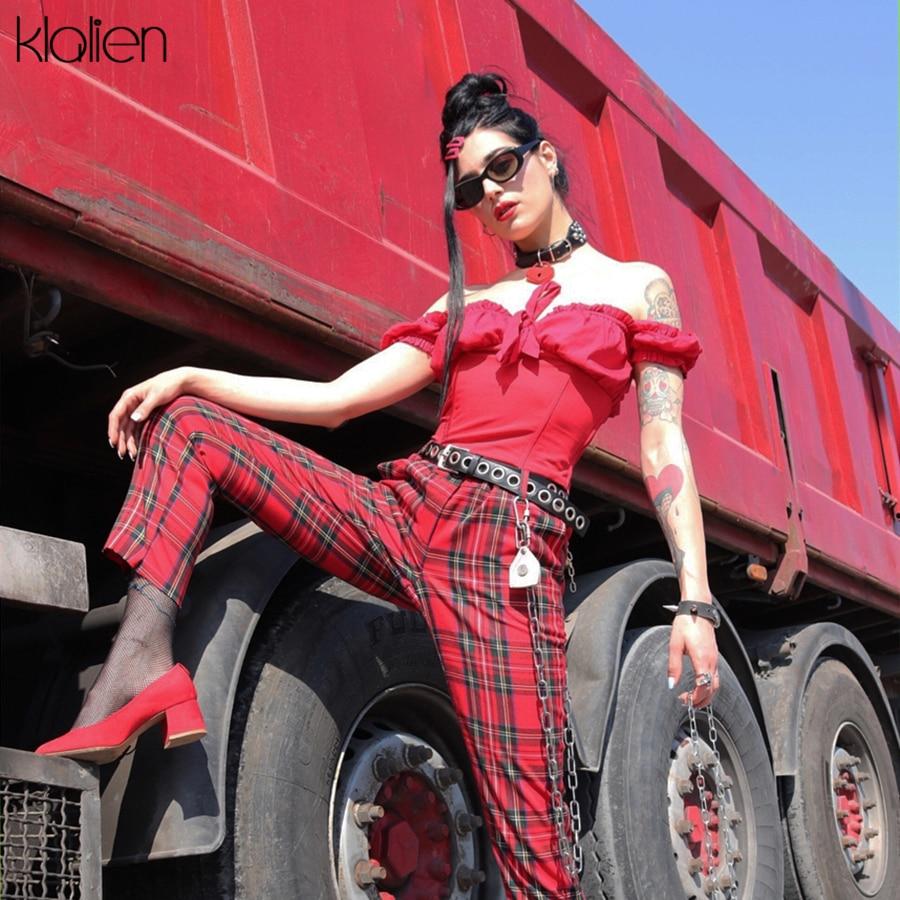 KLALIEN Summer 2019 New Fashion Red Plaid Pants Women Casual High Waist Zipper Women Long Pencil Lady Harem Fit Pants