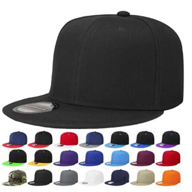 Gorra de hip hop de Color liso para hombre, gorra de béisbol, fútbol, baloncesto, visera plana