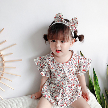 Girls dress floral lotus leaf sleeves slim short skirt bow hair tie suit 0-3 years old baby beautiful hot sale image