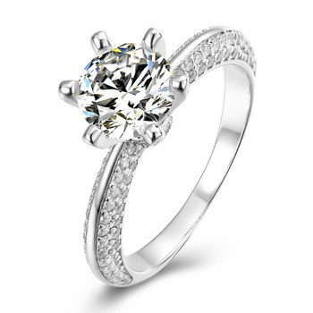 1 Carat D Color Moissanite Ring Classic 925 Sterling Silver Excellent Cut 6.5mm Past Diamond Test Moissanite Certificate Rings