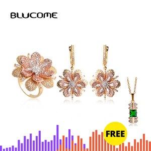 Image 1 - Blucome Luxury Rhinestones Flower Drop Earrings Ring Set Full Zircons Two Tones Jewelry Sets Women Girls D Hooks Ear Accessories