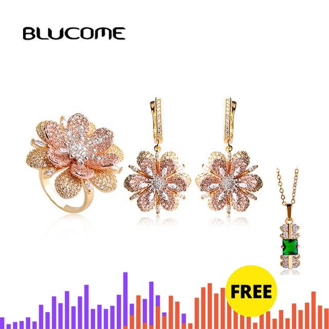 Blucome Luxury Rhinestones Flower Drop Earrings Ring Set Full Zircons Two Tones Jewelry Sets Women Girls D Hooks Ear Accessories