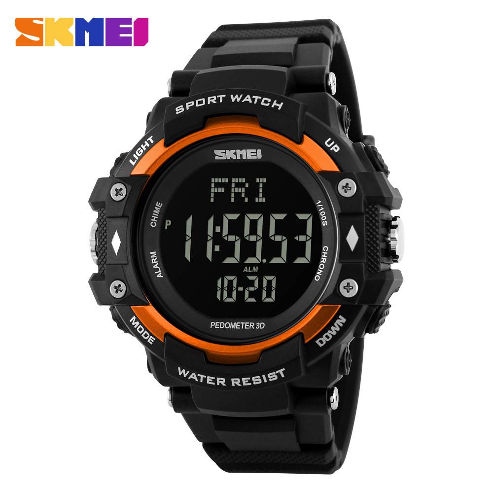 <font><b>SKMEI</b></font> Luxury Brand Men 3D Pedometer HeartRate Monitor Calories Digital Display Watch Outdoor Sports Watches Relogio Masculino image