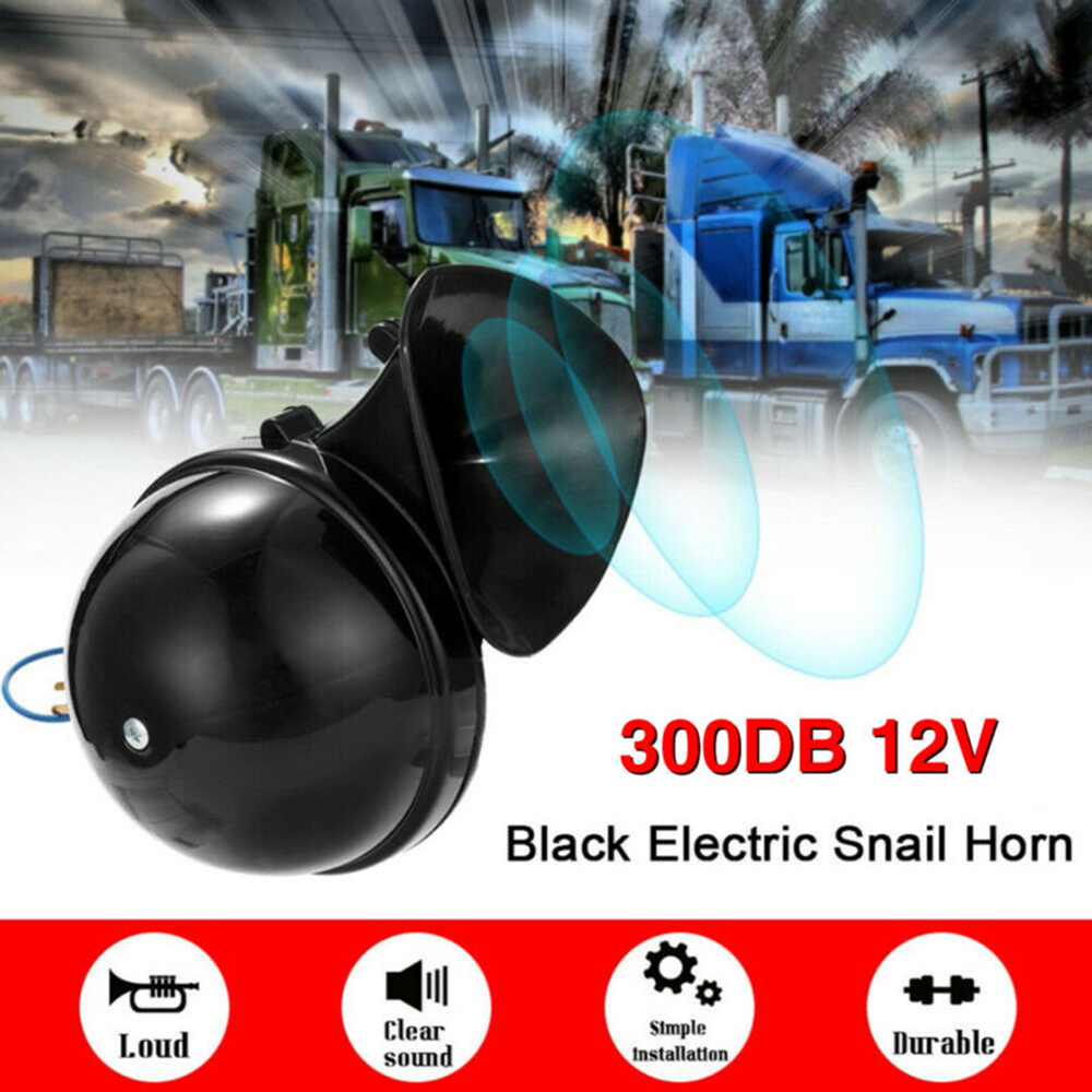 300dB Loud Air Snail Single Horn For 12V Car Truck Lorry SUV RV Train Caravan Boat Universal Black Replace Waterproof Parts