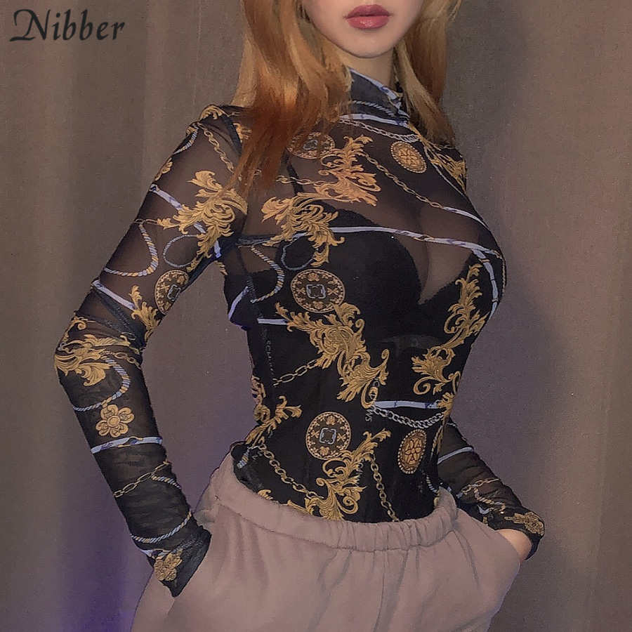 Nibber Autumn Stretch Slim Soft Punk Style Bodysuits Women Fashion Mesh Thin See-through Short Jumpsuits Simple Casual Bodysuits