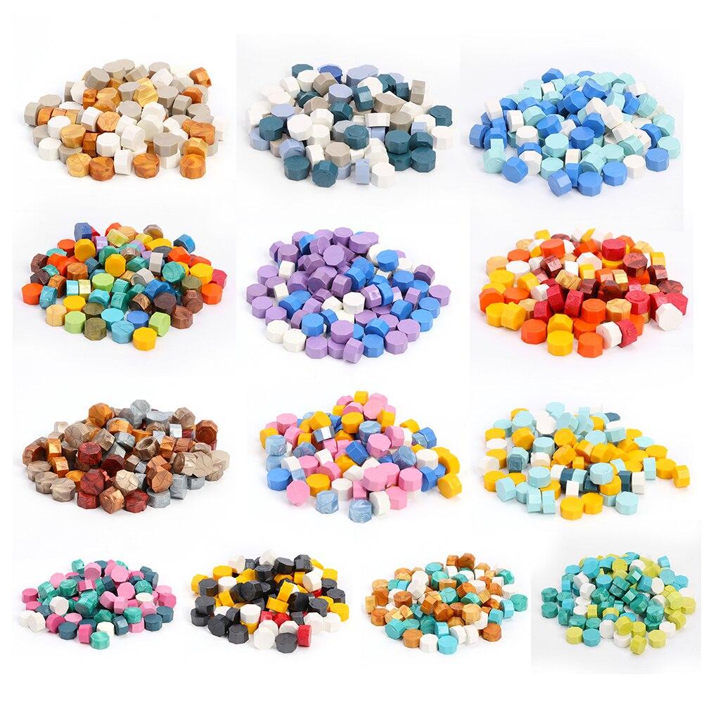 100pcs Vintage Octagon Wax Seal Stamp Tablet Pill Beads Granular Grain Wax for Envelope Decoration DIY Craft Sealing Stamps