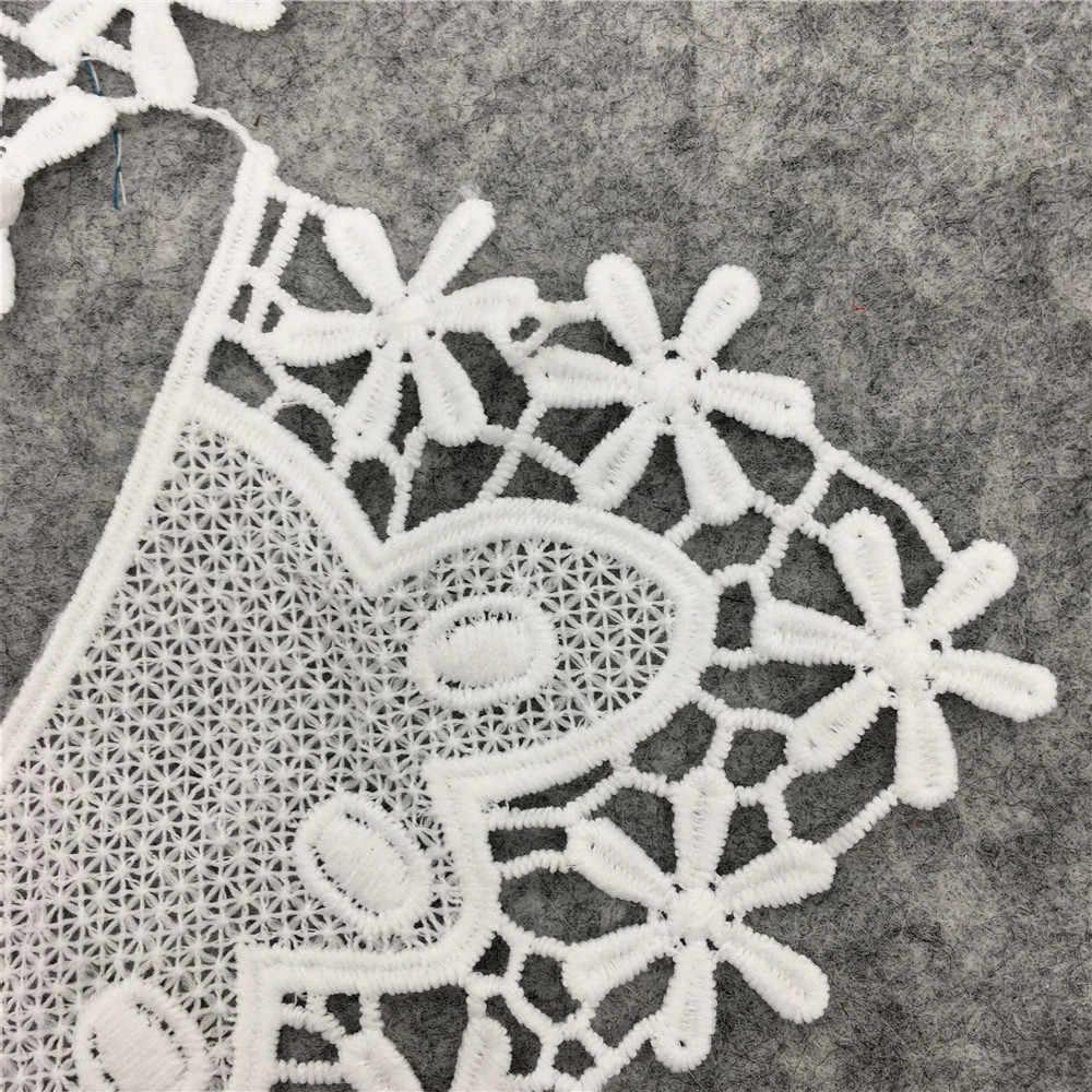 2018 nuevo encaje de tela blanco aplique de flor bordado para Escote de encaje Collar DIY accesorios de vestido de novia de suministros de costura