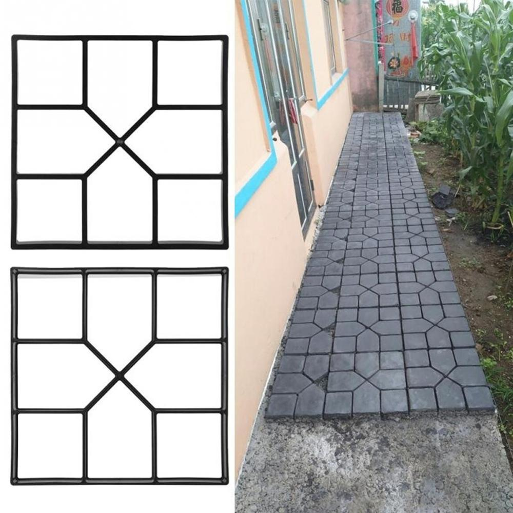 Brick Stone Road Paving Moulds Tool Garden Path Maker Mold Plastic DIY Manually Paving Cement for Garden Decoration