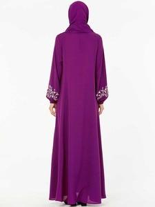 Image 5 - BNSQ Fashion Women Muslim Dress Abaya Islamic Clothing Malaysia Jilbab Djellaba Robe Musulmane Embroidery Maxi Dress Plus Size
