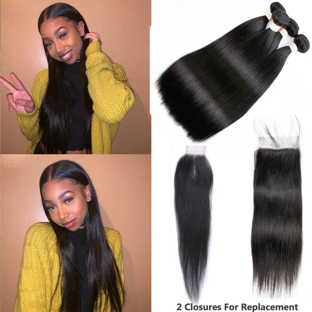 Sapphire 60g Brazilian Hair Weave Bundles With Closure Straight Hair Bundles With Closure Human Hair Bundles With Closure Remy