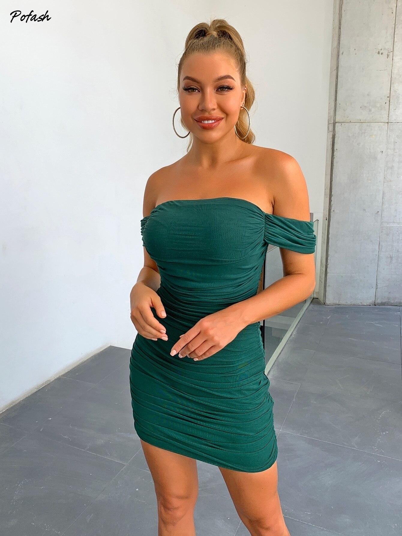 Joyfunear Draped Off Shoulder Ruched Dress