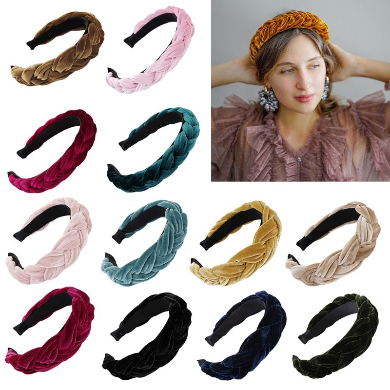 Ethnic Style Glitter Velvet Wide Headband Women Girls Thick Handmade Braided Hair Hoop Bright Solid Color Twists Tiara Headwear