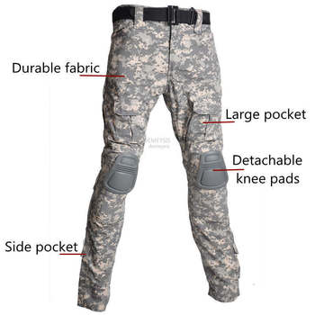 Military Uniform Shirt + Pants with Knee Elbow Pads Outdoor Airsoft Paintball Tactical Ghillie Suit Camouflage Hunting Clothes 5