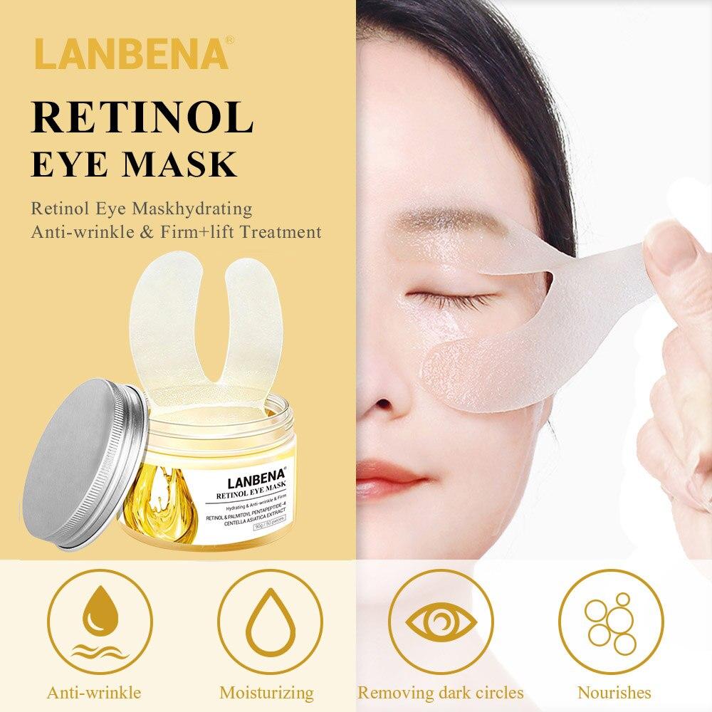 LANBENA 50PCS Retinol Eye Mask Eye Patch Reduces Dark Circles Ageless Anti-Puffiness Lifting Firming Eye Serum Cream Skin Care