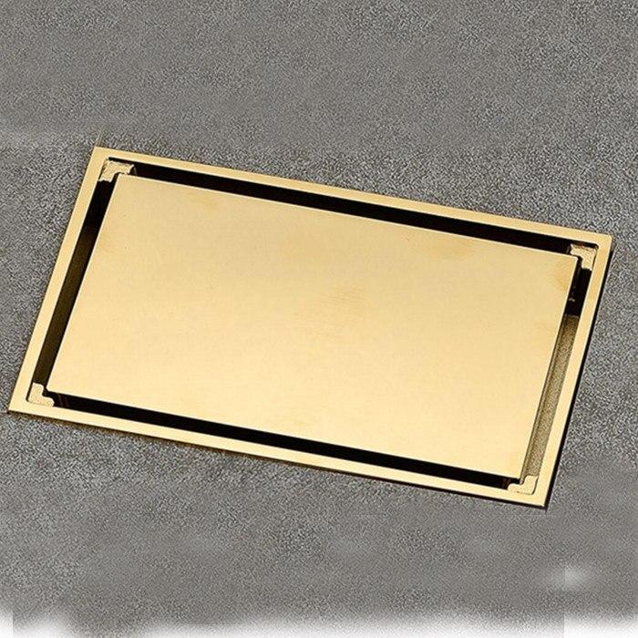 Noir orbe Chrome laiton mat doré 9x14 cm carré de douche Invisible salle de bain couvercle de vidange Drain déchets de sol Drain dr08