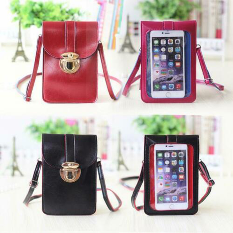 Touches Screen PU Leather Change Bag Women Crossbody Mobile Phone Pouch Wallet Mothers Day Gift A66