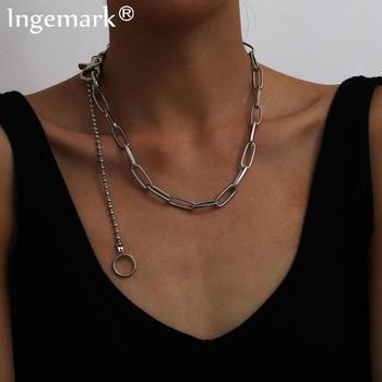 Gargantilla con borla colgante de círculo de hierro Bohemia, collar Steampunk para hombre, collar de cadena gruesa gótico grueso para mujer, regalo de joyería estética