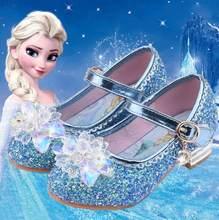 Disney nova elsa sapatos para meninas dos desenhos animados de couro crianças sapatos congelados princesa crianças sapatos menina sandálias vestido de neve rainha sandália