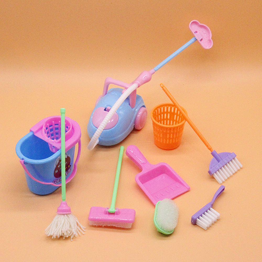 9pcs Baby Cleaning Tools Pretend Toys Kit Dolls Accessories Furniture Mop Broom Vacuum Cleaner Kids Educational Kitchen Home Toy