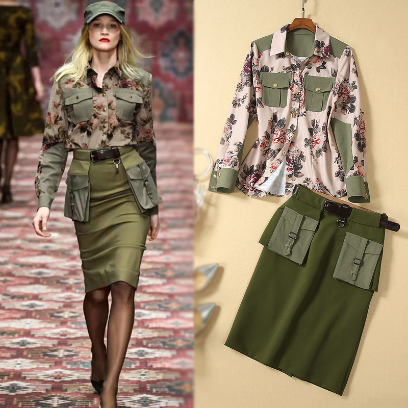 Autumn New Fashion High Quality Party Workplace Flower Print Shirt Top Sexy Pencil Half Skirt Vintage Elegant Chic Women'S Sets