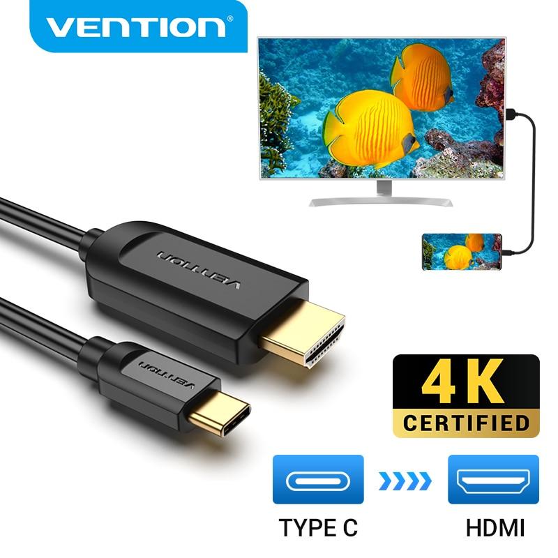 Vention USB C a HDMI Cable 4 tipo K c HDMI Thunderbolt 3 adaptador para MacBook Samsung Galaxy S10/S9 Huawei Xiaomi tipo c a HDMI
