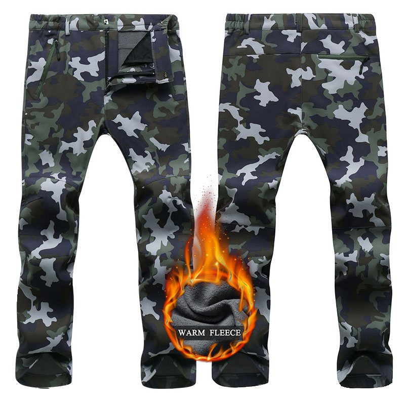 2019 Winter Thick Warm Fleece Softshell Pants Outdoor Ski Pants Men Windproof Waterproof Snowboard Pants Trekking Hiking Pants