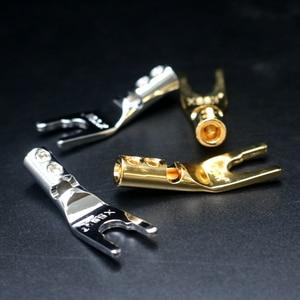 Image 1 - XSSH Conector de amplificador de potencia del altavoz, soldadura de rodio, chapado en cobre, enchufe de banana macho, 4 Uds./8 Uds.