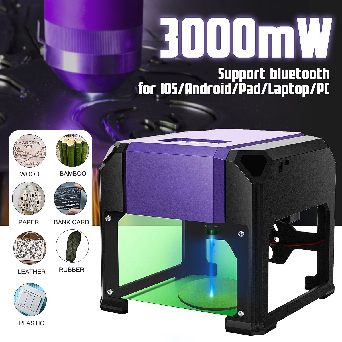 3000mW Desktop DIY Laser Engraving Machine Automatic CNC Wood Router Laser Engraver Support Bluetooth For I OS /Android/Laptop