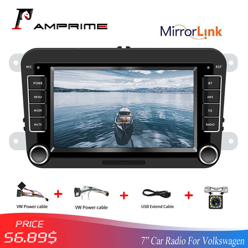 "AMPrime 2 Din Car Multimedia 7 ""Touch Screen Car Radio Bluetooth FM Radio MirrorLink MP5 Player Per Volkswagen Autoradio macchina fotografica"