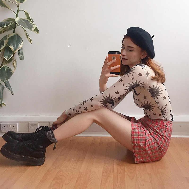여성 메쉬 쉬어 프린트 긴 소매 라운드 넥 Bottoming 티셔츠 Slim Bottoming 여성 섹시한 셔츠 Hollow Out Thin Bottoming Shirt