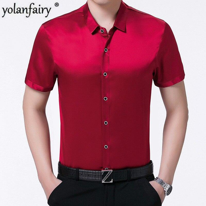 100% Silk Men Shirt Short Sleeve Summer Red Black Shirt Korean Men Clothes Formal Man Shirts High Quality Camisa CH-777 KJ1952