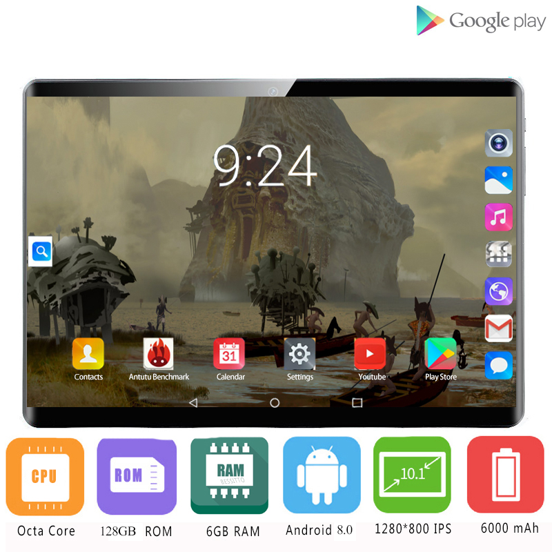 2020 Hot Sales 6GB + 128GB ROM 2.5D Glass 4G LTE 10 Inch Android 8.1 Octe Core Dual SIM Cards 1920*1200 IPS Screen Wifi GPS 10.1
