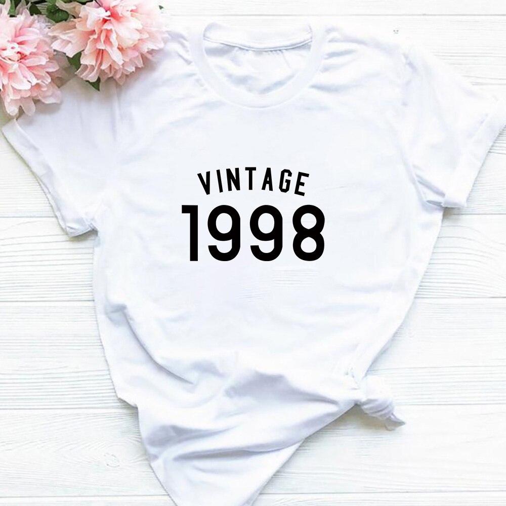 2QIMU prezent urodzinowy s dla kobiet mężczyzn, 100% bawełna z nadrukiem w stylu Vintage sukienka z 1998 Shirt dla 21st prezent urodzinowy Party Top Tees z dekoltem w serek streetwear