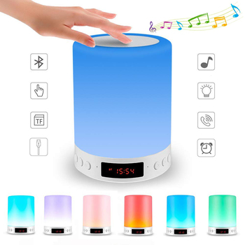 Colorful Night Light With Bluetooth Speaker Wireless Touch Control Desk Table Lamp , rechargeable Alarm Clock Screen LED