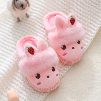 2020 New korean version furry slippers childrens  rabbit ear rubber winter velvet shoes girls cute