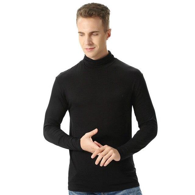 Grande taille hommes sous-vêtement thermique hiver col roulé sous-vêtement coton élastique 4XL 6XL grande taille chaud à manches longues décontracté chemise hauts
