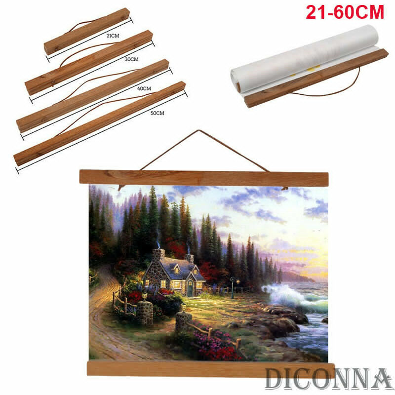 21/<font><b>30</b></font>/<font><b>40</b></font>/50/60cm Magnet Wood Wooden Poster <font><b>Frame</b></font> Painting Scroll Nordic DIY <font><b>Photo</b></font> Picture Hanger image