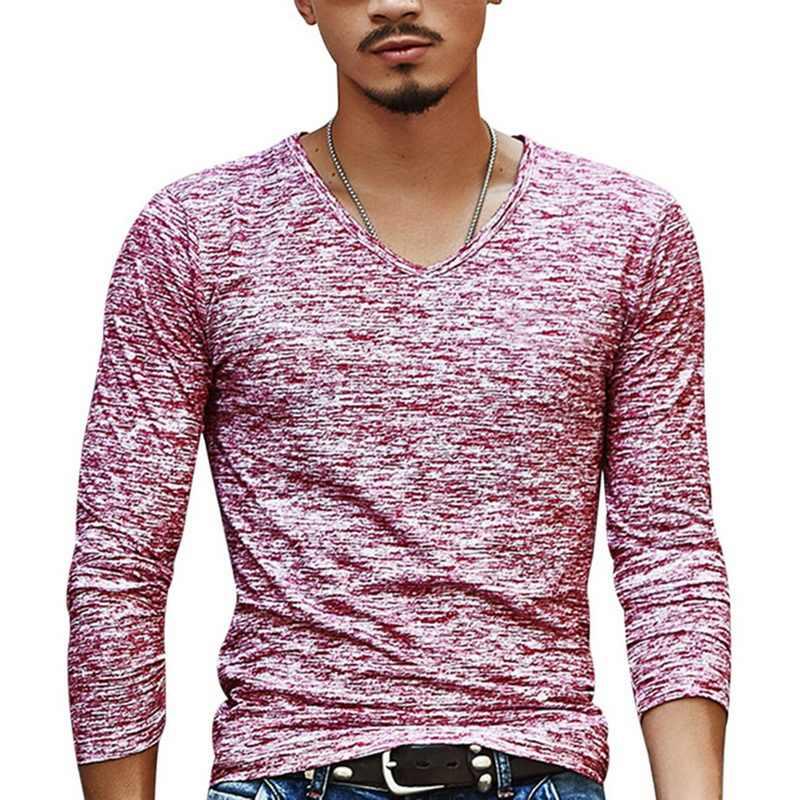 Jodimitty 남자 긴 소매 티셔츠 패션 v 목 인쇄 면화 슬림 셔츠 남자 가을 힙합 남자 의류 undershirt 티셔츠