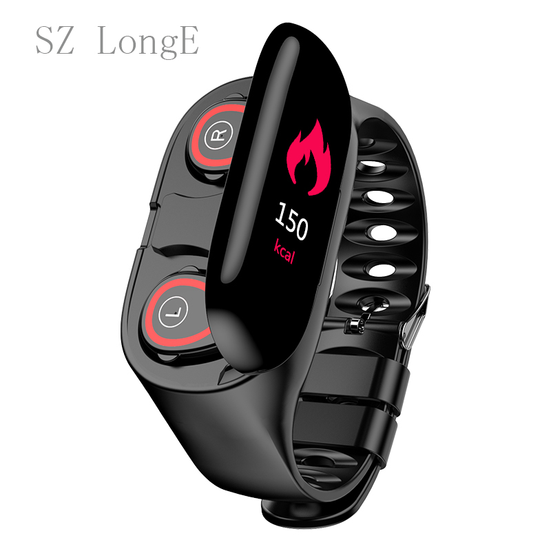 <font><b>M1</b></font> Smart <font><b>Watch</b></font> Bluetooth Headset 2 in 1 Heart Rate Monitor Fitness Tracker Blood Pressure Smart <font><b>Watch</b></font> ios Android <font><b>M1</b></font> image